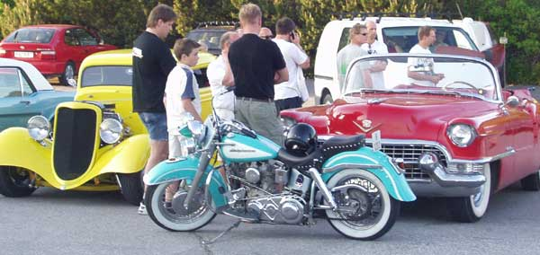 Early Mustang, Hot Rod, HArley and fities open Cadillac!